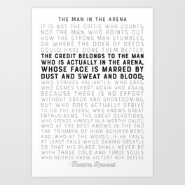 The Man in the Arena - by Theodore Roosevelt - Motivational Quote Art Print