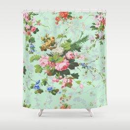 Antique romantic vintage 1800s Victorian floral shabby rose flowers pattern aqua mint hipster print Shower Curtain