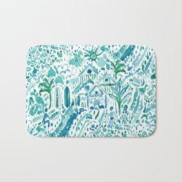IDEAL BEACH HOUSE Aqua Watercolor Print Bath Mat