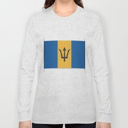 Flag of Barbados. The slit in the paper with shadows. Long Sleeve T-shirt