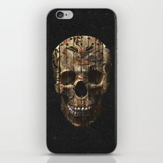 Vintage American Tattoo Skull Wood Stripes Texture iPhone & iPod Skin