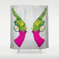 guns Shower Curtains featuring Play Guns by kakin