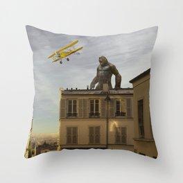Kong in Paris Throw Pillow