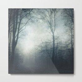 Dark Path - Misty Forest in November Metal Print