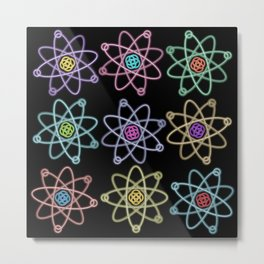Gold and Silver Atomic Structure Pattern Metal Print