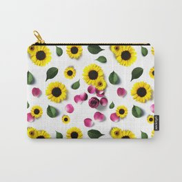 Cute Sunflower and Roses Floral Pattern Carry-All Pouch