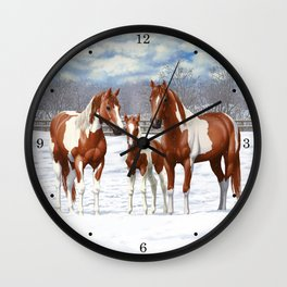 Chestnut Pinto Paint Horses In Snow Wall Clock