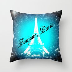 Bonjour, Paris! Throw Pillow