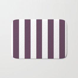 Dark byzantium purple - solid color - white vertical lines pattern Bath Mat