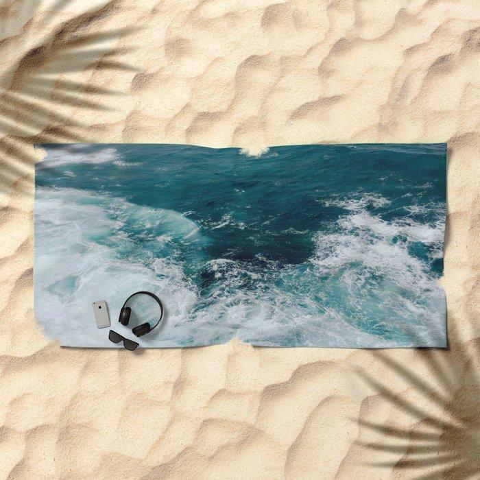 Ocean Waves (Teal) Beach Towel