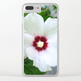 White Hibiscus Flower Ruffle Clear iPhone Case