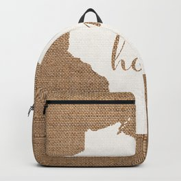Wisconsin is Home - White on Burlap Backpack