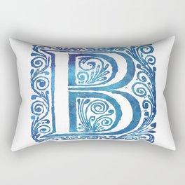 Letter B Antique Floral Letterpress Monogram Rectangular Pillow