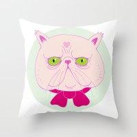 persian Throw Pillows featuring Persian Cat by Madelen Foss