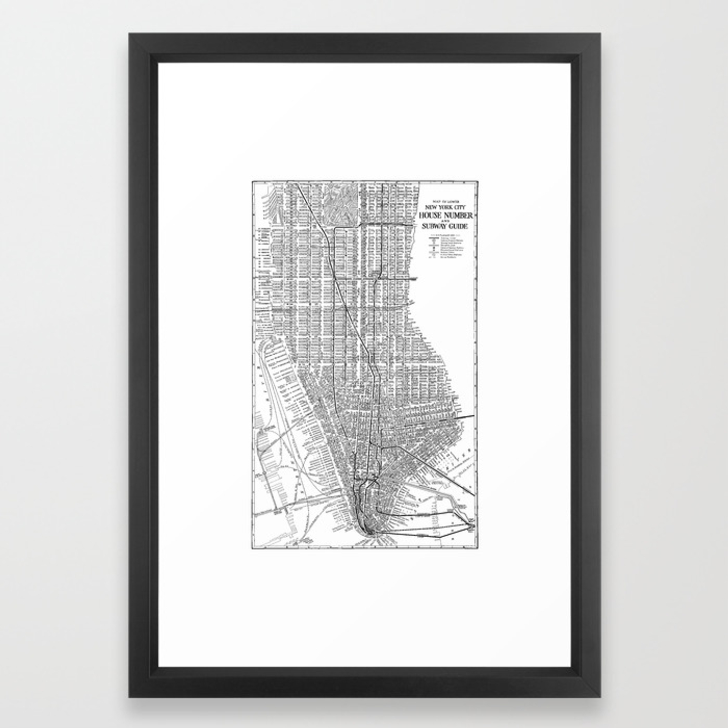 Subway Map Manhattan New York.New York City Subway Map New York City Art Manhattan New York Framed Art Print