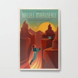 DISCOVER MARS - Valles Marineris | Space | X | Canyon | Retro | Vintage | Futurism | Sci-Fi Metal Print