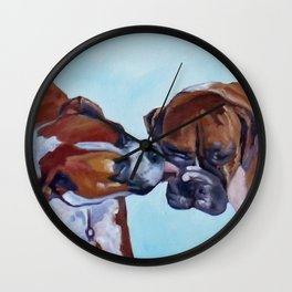 Kissing Boxers Dogs Portrait Wall Clock