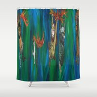 wild things Shower Curtains featuring Wild Things Monsters by Always Add Color