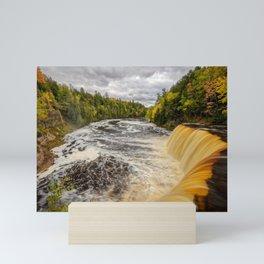 TAHQUAMENON FALLS AUTUMN PHOTO - MICHIGAN UPPER PENINSULA FALL IMAGE - LANDSCAPE PHOTOGRAPHY Mini Art Print