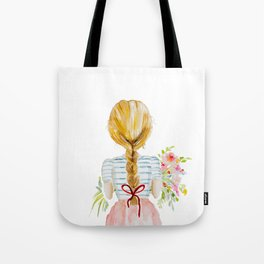 Blonde Girl with Flowers Tote Bag