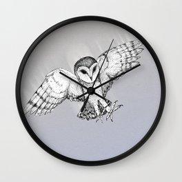 Attacking barn owl Wall Clock