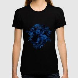 winter flowers seamless pattern 01 big dark blue T-shirt