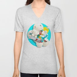 Time bunny girl and clouds Unisex V-Neck