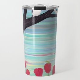 tree swallows in the stained glass tree with tulips and frogs Travel Mug