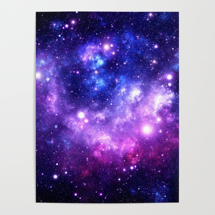 df582d25fc5c6 Purple Blue Galaxy Nebula Poster by vintageby2sweet | Society6