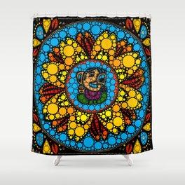 Colorful Ganesha in Marigold Flower Mandala Dot Art Shower Curtain