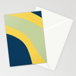 Navy Blue, Yellow and Sage Abstract Shapes Stationery Cards