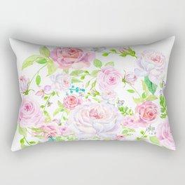Bouquet of PINK & WHITE rose - wreath Rectangular Pillow