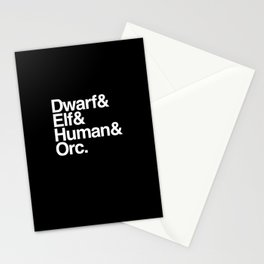 Fantasy Races List Stationery Cards