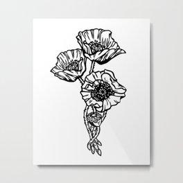 Black and White Poppy Trio Metal Print