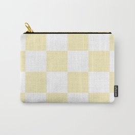 Large Checkered - White and Blond Yellow Carry-All Pouch