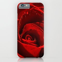 Red Rose with water drops 93 iPhone Case