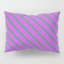 Orchid & Sea Green Colored Lined Pattern Pillow Sham