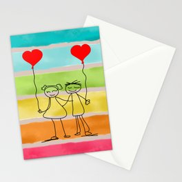 Hand drawn set by children, Vector love illustration, one line drawing, gifts for valentines day Stationery Cards