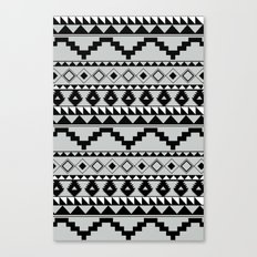 Aztec Pattern 2 Gray & Black Canvas Print