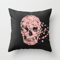 skulls Throw Pillows featuring A Beautiful Death  by Terry Fan
