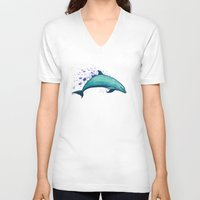 psychadelic V-neck T-shirts featuring Indigo Lagoon ~ Dolphin Watercolor by Amber Marine