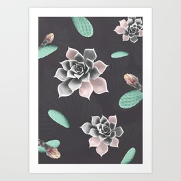 Succulents and cactus pattern Art Print