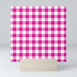Jumbo Shocking Hot Pink Valentine Pink and White Buffalo Check Plaid Mini Art Print