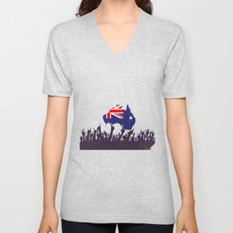 Australian Map And Flag with Audience Unisex V-Neck