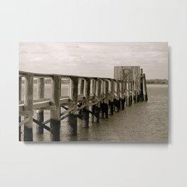 Black and White Pier Metal Print