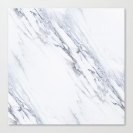 White Marble with Classic Black Veins Canvas Print