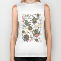 woodland Biker Tanks featuring Woodland by Sarah Doherty