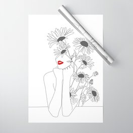 Minimal Line Art Girl with Sunflowers Wrapping Paper