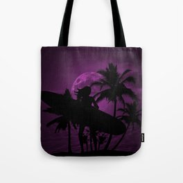 Purple Dusk with Surfergirl in Black Silhouette with Longboard Tote Bag