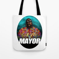 biggie smalls Tote Bags featuring Biggie Smalls for Mayor by Tom Brodie-Browne